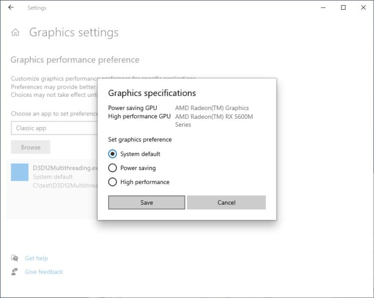 Windows Set Graphics Preference